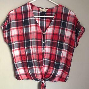 Tie-Front Plaid Shirt